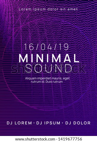 Techno event. Cool concert invitation concept. Dynamic gradient shape and line. Neon techno event flyer. Electro dance music. Electronic sound. Trance fest poster. Club dj party.