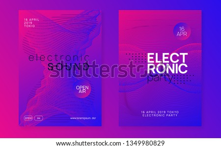 Techno event. Curvy show magazine set. Dynamic gradient shape and line. Neon techno event flyer. Electro dance music. Electronic sound. Trance fest poster. Club dj party.