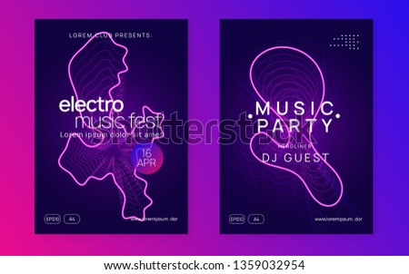 Techno event. Digital concert magazine set. Dynamic gradient shape and line. Neon techno event flyer. Electro dance music. Electronic sound. Trance fest poster. Club dj party.