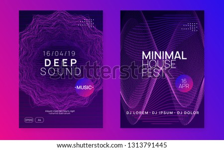 Techno event. Digital show invitation set. Dynamic gradient shape and line. Neon techno event flyer. Electro dance music. Electronic sound. Dance fest poster. Club dj party.