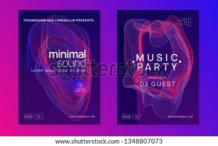 Techno event. Digital show invitation set. Dynamic gradient shape and line. Neon techno event flyer. Electro dance music. Electronic sound. Trance fest poster. Club dj party.
