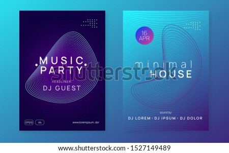 Techno event. Dynamic fluid shape and line. Commercial discotheque banner set. Neon techno event flyer. Electro dance music. Electronic sound. Trance fest poster. Club dj party.