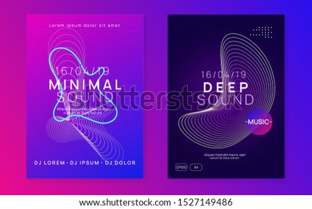 Techno event. Dynamic fluid shape and line. Energy concert magazine set. Neon techno event flyer. Electro dance music. Electronic sound. Trance fest poster. Club dj party.