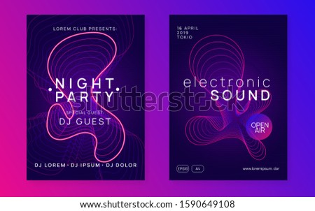 Techno event. Dynamic fluid shape and line. Energy show cover set. Neon techno event flyer. Electro dance music. Electronic sound. Trance fest poster. Club dj party.