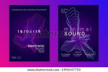 Techno event. Dynamic fluid shape and line. Geometric concert brochure set. Neon techno event flyer. Electro dance music. Electronic sound. Trance fest poster. Club dj party.