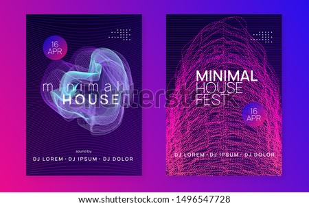 Techno event. Dynamic fluid shape and line. Trendy discotheque invitation set. Neon techno event flyer. Electro dance music. Electronic sound. Trance fest poster. Club dj party.