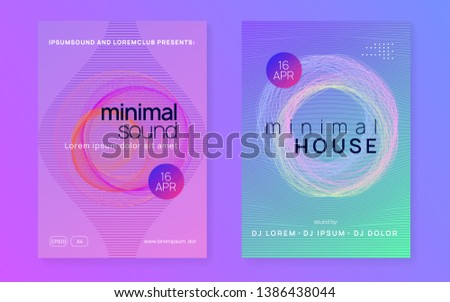Techno event. Dynamic fluid shape and line. Trendy discotheque magazine set. Neon techno event flyer. Electro dance music. Electronic sound. Trance fest poster. Club dj party.