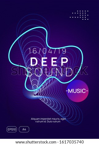 Techno event. Dynamic gradient shape and line. Abstract discotheque banner layout. Neon techno event flyer. Electro dance music. Electronic sound. Trance fest poster. Club dj party.