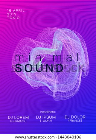 Techno event. Dynamic gradient shape and line. Bright concert invitation concept. Neon techno event flyer. Electro dance music. Electronic sound. Trance fest poster. Club dj party.
