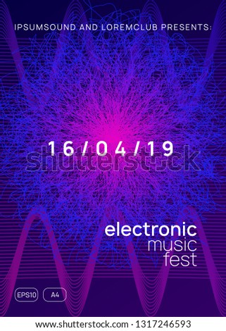 Techno event. Dynamic gradient shape and line. Cool discotheque banner design. Neon techno event flyer. Electro dance music. Electronic sound. Trance fest poster. Club dj party.