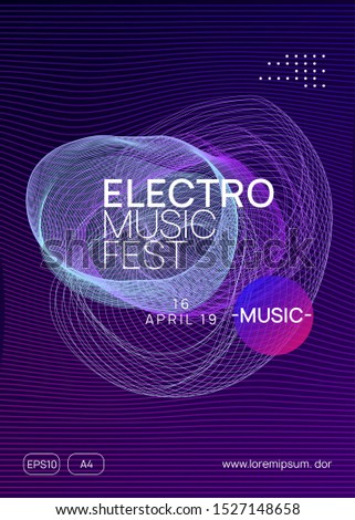 Techno event. Dynamic gradient shape and line. Cool discotheque brochure concept. Neon techno event flyer. Electro dance music. Electronic sound. Trance fest poster. Club dj party.