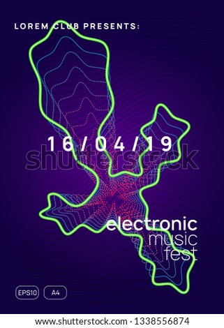 Techno event. Dynamic gradient shape and line. Creative concert brochure template. Neon techno event flyer. Electro dance music. Electronic sound. Trance fest poster. Club dj party.