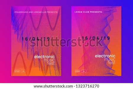 Techno event. Dynamic gradient shape and line. Creative concert magazine set. Neon techno event flyer. Electro dance music. Electronic sound. Trance fest poster. Club dj party.
