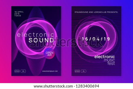 Techno event. Dynamic gradient shape and line. Curvy show banner set. Neon techno event flyer. Electro dance music. Electronic sound. Trance fest poster. Club dj party.