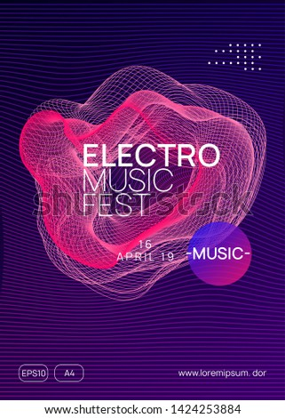 Techno event. Dynamic gradient shape and line. Energy concert magazine design. Neon techno event flyer. Electro dance music. Electronic sound. Trance fest poster. Club dj party.