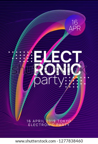 Techno event. Dynamic gradient shape and line. Futuristic show cover template. Neon techno event flyer. Electro dance music. Electronic sound. Trance fest poster. Club dj party.