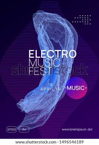 Techno event. Dynamic gradient shape and line. Minimal concert invitation design. Neon techno event flyer. Electro dance music. Electronic sound. Trance fest poster. Club dj party.
