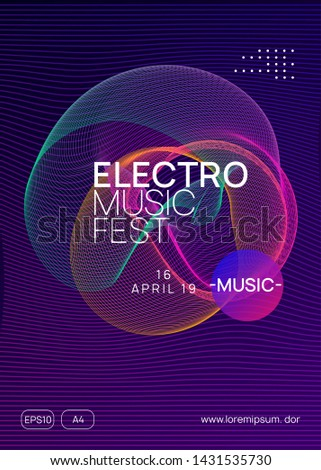 Techno event. Dynamic gradient shape and line. Modern show banner layout. Neon techno event flyer. Electro dance music. Electronic sound. Trance fest poster. Club dj party.