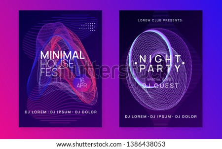 Techno event. Futuristic show banner set. Dynamic fluid shape and line. Neon techno event flyer. Electro dance music. Electronic sound. Trance fest poster. Club dj party.