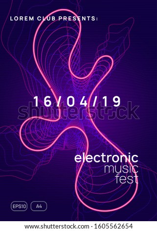 Techno event. Futuristic show brochure concept. Dynamic gradient shape and line. Neon techno event flyer. Electro dance music. Electronic sound. Trance fest poster. Club dj party.