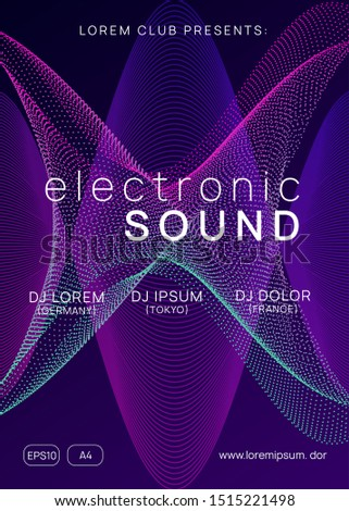 Techno event. Minimal concert cover design. Dynamic gradient shape and line. Neon techno event flyer. Electro dance music. Electronic sound. Trance fest poster. Club dj party.
