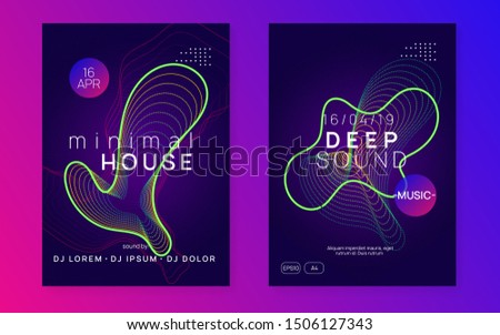 Techno event. Minimal concert invitation set. Dynamic gradient shape and line. Neon techno event flyer. Electro dance music. Electronic sound. Trance fest poster. Club dj party.