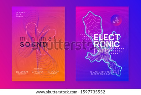 Techno event. Modern discotheque banner set. Dynamic fluid shape and line. Neon techno event flyer. Electro dance music. Electronic sound. Trance fest poster. Club dj party.