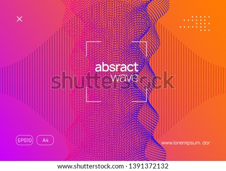 Techno event. Wavy show banner layout. Dynamic fluid shape and line. Neon techno event flyer. Electro dance music. Electronic sound. Trance fest poster. Club dj party.