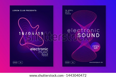Techno event. Wavy show invitation set. Dynamic fluid shape and line. Neon techno event flyer. Electro dance music. Electronic sound. Trance fest poster. Club dj party.