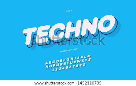 Techno font 3d bold style modern typography for decoration, logotype, poster, t shirt, book, card, sale banner, printing, industrial. Cool typeface. Trendy alphabet. Vector 10 eps