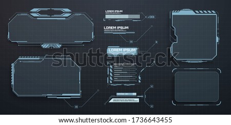 Techno frame, interface. Virtual grid display ui hologram user interface. Callouts titles and HUD elements. Futuristic callout bar labels, box modern digital info boxes layout templates. HUD, UI, GUI