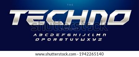 Techno Futurism alphabet, slant modern font. Steel type for modern tech logo, headline of game, car, speed auto race typography. Sport dynamic letters design, vector typographic design. Stockfoto ©