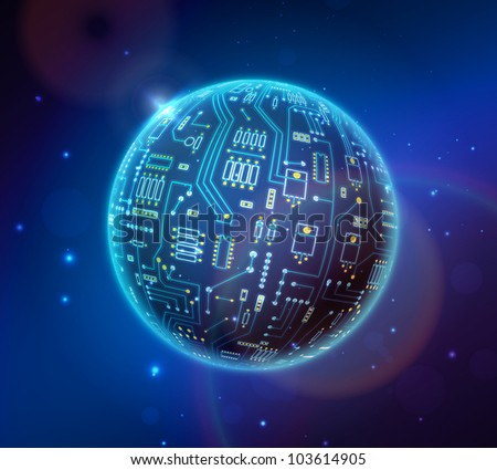 techno globe - stock vector