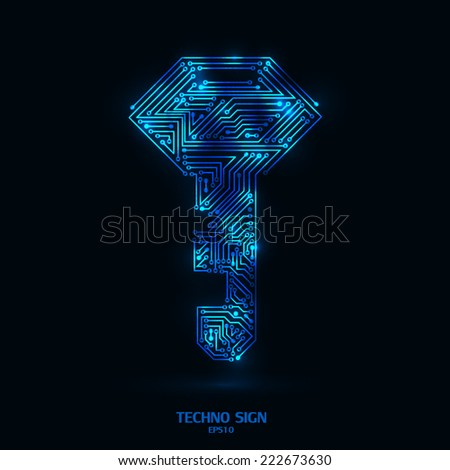 techno key glowing color on black background with circuit board pattern stock photo