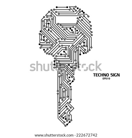 techno key on white background with circuit board pattern stock photo