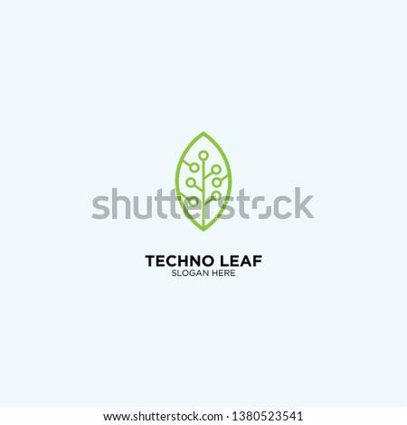 Techno Leaf logo template, vector illustration - Vector