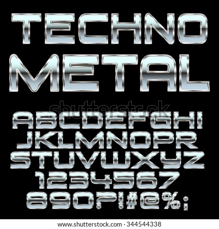 techno metal style letters and