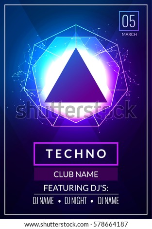 Techno music poster. Electronic club deep music. Musical event disco trance sound. Night party invitation. DJ flyer poster