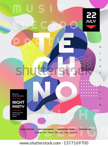 Techno party. Vector gradient abstract background for poster, flyer or cover. Psychedelic illustration for clubs, DJ, electronic techno music, festival, etc