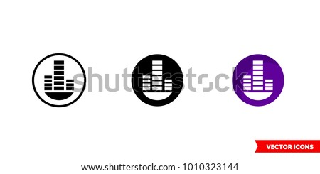 Techno trance music genre icon of 3 types: color, black and white, outline. Isolated vector sign symbol.