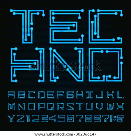 techno type font vector