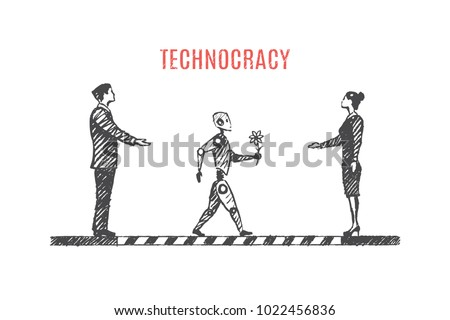 Technocracy. Vector business concept illustration, hand drawn sketch.