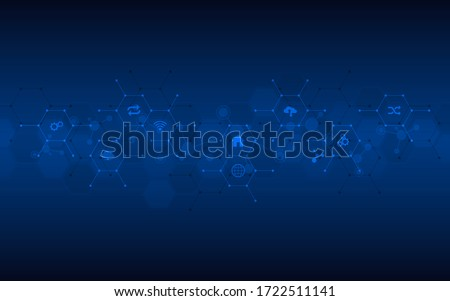 Technological background with flat icons and symbols. Concept and idea for the internet of things, communication, network, innovation technology, system integration. Vector illustration