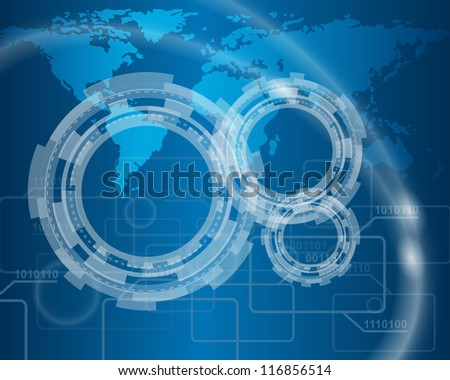 Technological blue background.Vector illustration with transparency EPS10.