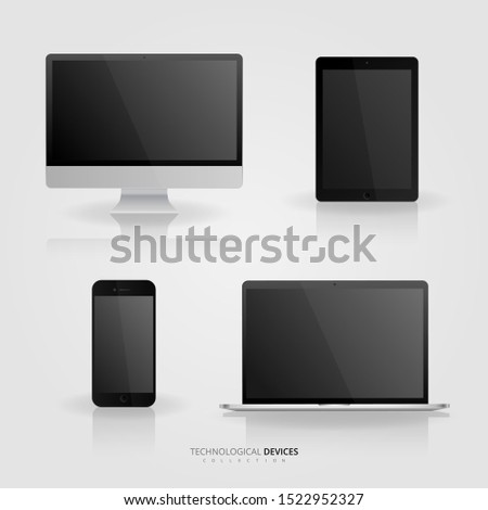 Technological devices collection vector set