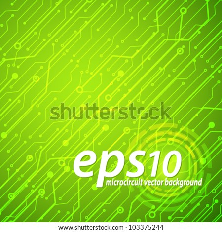 Technological microcircuit abstract green vector background