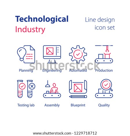Technological production, automated industry, manual worker at assembly line, quality control, testing lab, sample tube, engineering blueprint, computer monitor, magnifying glass check, vector icon