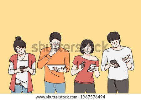 Technologies and surprise concept. Surprised teens children cartoon characters looking into their mobile phones feeling surprised and positive vector illustration