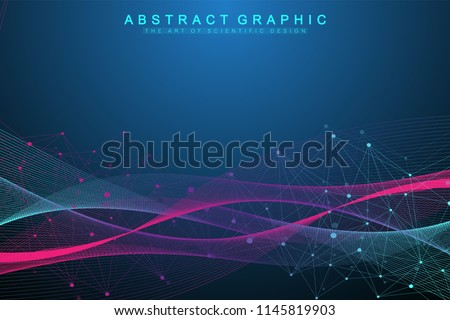 Technology abstract background with connected line and dots. Big data visualization. Perspective backdrop visualization. Analytical networks. Vector illustration