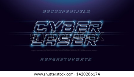 Technology abstract neon font and alphabet. techno effect logo designs. Typography digital space italic fonts concept. vector illustration